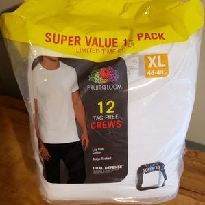 12 pk Fruit of the Loom XL White Tag Free Crews